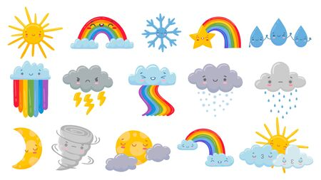 Cute cartoon weather. Happy hot sun, rainbow over clouds and funny snowflake. Snowly and rainy cloud, sleeping moon and angry hurricane vector illustration set. Rainbow and hot sun, rain and star