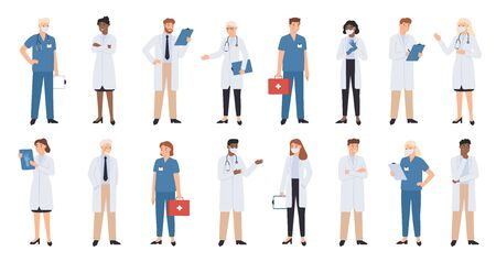 Hospital doctors and nurses. Doctor with stethoscope, nurse in scrubs and face mask. Medical student volunteer and intern character. Medical staff vector illustration. Profession physician in uniform