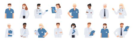 Hospital staff. Doctors in white coats portrait, nurse in face mask and medical student. Doctor with stethoscope vector illustration . Pediatrician healthcare specialist, man and woman students Ilustracja