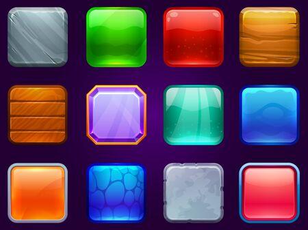 Boutons carrés de l'interface utilisateur du jeu. Cadre en métal en acier, bois et bouton losange. Boutons brillants de dessin animé pour l'ensemble d'illustrations vectorielles de jeux pour enfants. Jeu d'interfaces UI, bois et métal, pierre de jeu Vecteurs