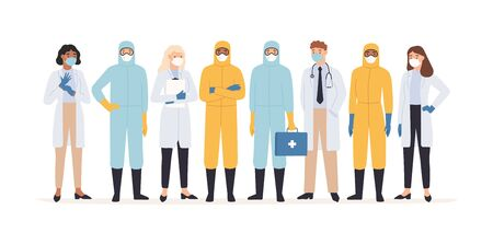 Medical workers. Professional doctors and nurses in protective suits standing together. Covid 19 virus outbreak pandemic vector concept. Medical covid-19, medicine professional team illustration Vektorové ilustrace