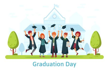 Graduation day, happy students celebration. Education certificate, celebration ceremony, school graduate, people throw hat. Vector illustration