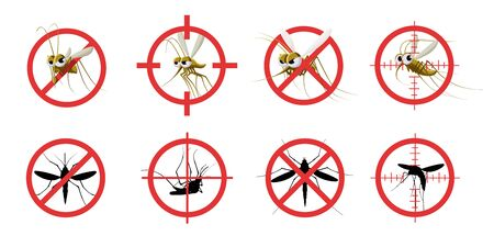 Anti mosquito sign. Informational red prohibited mosquito target, signaling stop gnat bite dangerous infection, sanitation care. Vector set of anti insect, pest stop, mosquito and gnat illustration