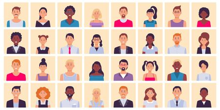 People avatar. Multiethnic people square portraits set. Multiethnic people character, diverse face person, female and male avatar, vector illustration Ilustracja