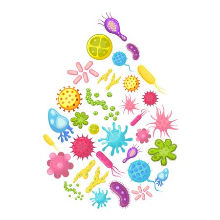 Microbes and viruses in water drop. Contaminated water vector illustration. Virus in drop water, microbe and bacteria, infection or disease
