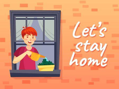 Lets stay home illustration. Man at quarantine coronavirus, window house, character watering plant, concept precaution virus vector