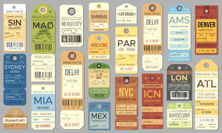 Luggage tags and tickets for passenger with country destination, weight and date. Baggage check for airplane trip. Retro vintage label for flight registration isolated on gray vector illustration