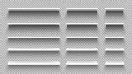 Realistic white empty shelves with shadow isolated on transparent wall background. Modern horizontal hardwood 3d furniture set for retail shop store, home or office vector illustration