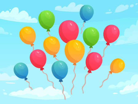 Balloons flying in sky among clouds. Colorful rubber balloons for holiday celebration. Decoration elements for event, birthday or anniversary greeting card, poster cartoon vector illustration