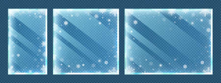 Frozen glass frames with snowflakes. Winter window border set with snow frost and ice effect isolated on transparent background. Christmas and new year holidays vector illustration