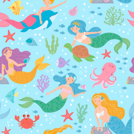Mermaid seamless pattern. Fairytale princesses and sea creatures underwater world design for wallpaper, fabric print fashion vector texture. Marine life with turtle, octopus, crab and starfish