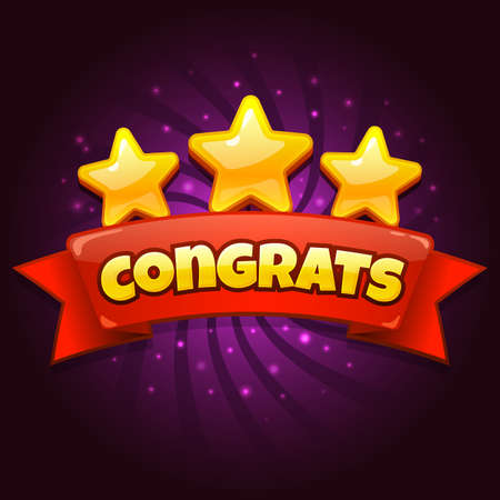 Congratulations game screen. Golden Congrats sign with three gold stars, casual games level up achievement screen cartoon vector illustration. Completed level with red ribbon and award for app