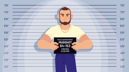 Cartoon arrested gangster mugshot. Arrested criminal holds board for identification, photo in police station, suspect profile vector concept. Robber, thief posing on measuring height scale background