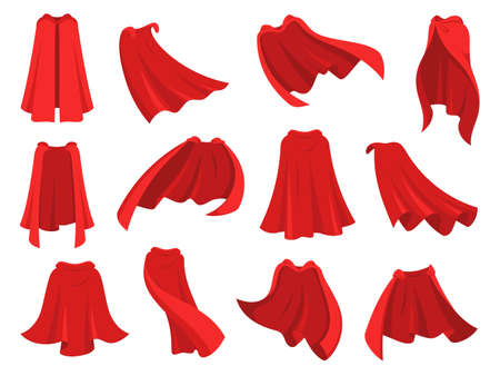 Superhero red cape. Scarlet fabric silk cloak in different position, front back and side view. Mantle costume, magic cover cartoon vector set. Satin flowing and flying carnival vampire clothes