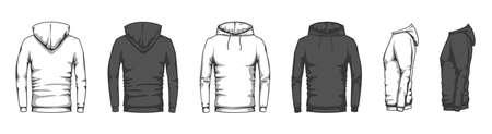 Hoodie mockup. Trendy casual clothes unisex sport merchandise, blank front back side sweatshirt hooded oversized style flat vector set. Black and white sportswear or tracksuit for training Ilustração
