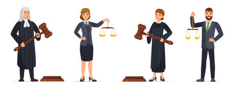 Judges and lawyers. Judge holding hammer and lawyer with scales of justice. Judicial workers, law cartoon vector illustration set. Legal verdict, woman and man with gavel. Court worker characters Çizim