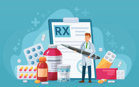 Rx medical prescription. Doctor writes signature in recipe, disease therapy pills, painkiller drugs. Pharmacy control vector concept. Medicine and healthcare with bottles and capsules