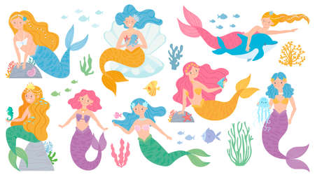 Mermaid. Cute mythical princess, little mermaids and dolphin, seashell and seaweeds, fishes and corals underwater game vector characters. Fairytale girls with colorful hair for fabric print
