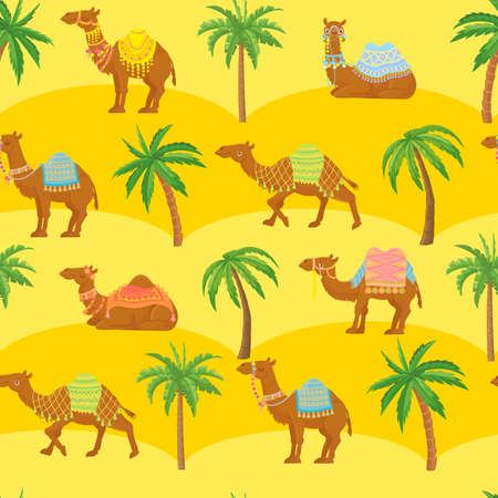 Seamless camel pattern. Cute cartoon camels in desert among sand dunes and palm trees. Egyption tribal vector wallpaper texture. Arabian dromedary characters for fabric print,