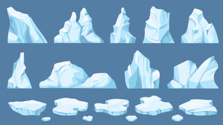 Cartoon arctic ice. Icebergs, blue floes and ice crystals. Icy cliff, cold frozen block of different shapes for game and decor vector set. Winter snowy hills and mountains elements 向量圖像