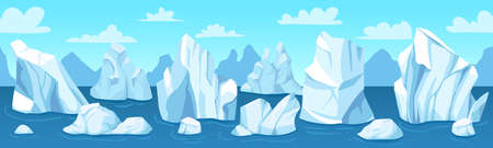 Seamless arctic landscape. Icebergs, snow mountains and hills antarctic drifting glacier, winter panorama, wallpaper vector illustration. Nature in north pole, ocean with melting ice cliff