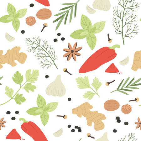 Spices seamless pattern. Hand drawn aromatic cooking ingredients cardamom and ginger, basil and thyme, barberry, dill vector texture. Herbs for culinary, preparing dish with flavors