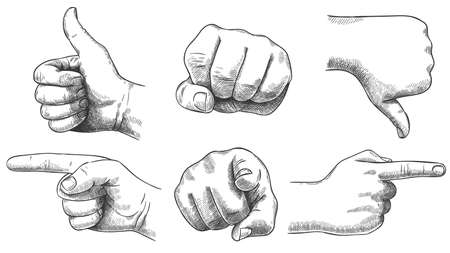 Engraved hands gesture. Hand drawn like and dislike, sketch punch and pointing finger. Vintage hand pointer vector illustration set. Thumb up and down, recommendation. Finger from and side view Ilustração