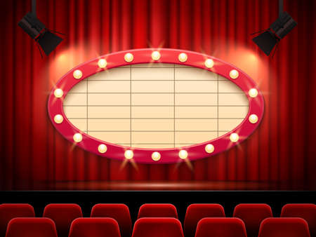 Theater frame illuminated by spotlight. Retro cinema sign with border decorated with lamps on red curtains background. Vintage movie or play premiere, seats for audience vector illustration