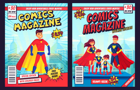 Comic book cover with super hero man and family characters. Retro magazine editable front page template with title and subtitle for customization. Cartoon super people flat vector illustration