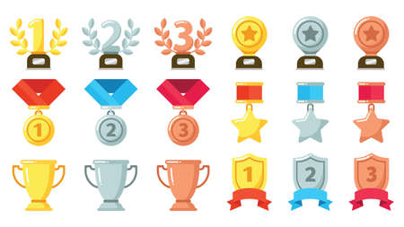 Gold, silver, bronze achievement or awards. Medals, trophies and rewards with olive wreath set for winner or champion in competition. First, second and third place icon in contest vector illustration