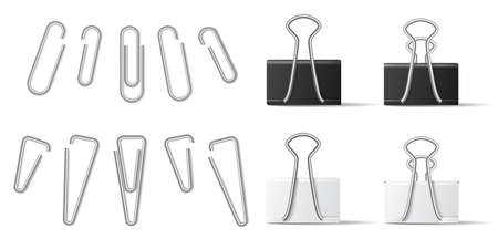Realistic paperclip and binder for file attachment in business document. White and black paper holder isolated on white background. Steel stationery set in different shape vector illustration
