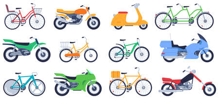 Flat motorbikes. Motorcycles, bikes and scooters, speed bicycle for delivery product, travel on vehicle, sports motocross vector set. Riding transport elements isolated on white background