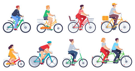 Cycling people. Women, men ride bikes sports outdoor activity, friends riding bicycles race on city street colored cartoon vector set. Characters leading healthy lifestyle, exercising actively Vettoriali