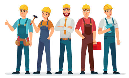 Industrial workers. Professional technician, mechanical engineer with helmet and professionals expert group cartoon vector illustration. People in uniform with equipment as hammer, tool box  イラスト・ベクター素材