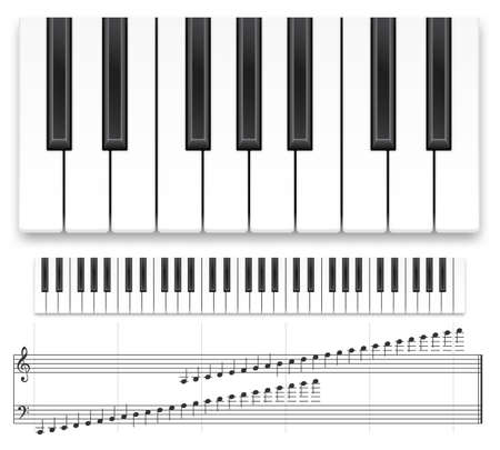 Piano keyboard. Realistic music instrument top view grand piano keyboard or synthesizer and musical notes vector template. Musical creative concept, design for recording studio on white background