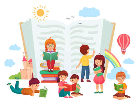 Kids reading books. Children in group enjoying literature, loving to read. Boys and girls learning or studying, getting knowledge next to big open hardback book. Education concept flat vector