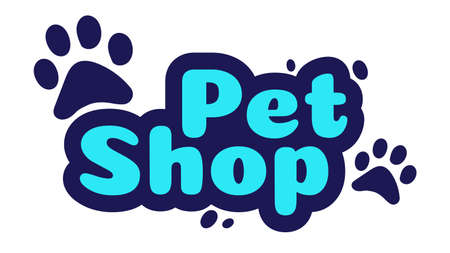 Pet shop logo design template. Store with goods and accessories for animals label. Lettering with paws signboard. Zoo shop emblem banner isolated on white background vector illustration