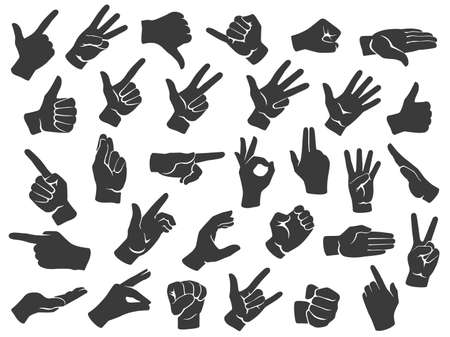 Hand gesture silhouette icons. Man hands gestures, pointing finger and thumbs up like icon stencil vector set. Non verbal communication, body language signs, emotional expressions illustration