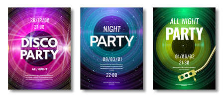 Vinyl poster. Vinyl record retro design flyer for music festival or dj night club disco party, old technology art image vector template. Electro party, music element for invitation, flyer. Illustration