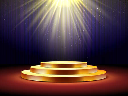 Golden podium. Empty gold pedestal for award ceremony, stage with spotlight illuminated platform for presentation, show event vector concept. Podium with dark curtains background, glowing light Çizim