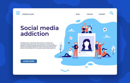 Social media addiction landing page. Young people using smartphones communication, taking and posting photos in networking sites. Boys and girls surfing in internet web design vector