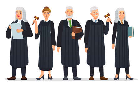 Judges team. Law judge in black robe costume, court people and justice workers vector cartoon illustration. Man and woman holding book and gavel or hummer, law occupation. Magistrate with mallet  イラスト・ベクター素材