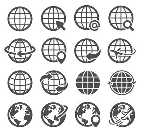 Globe icons set. World earth, worldwide map continents spherical planet, internet global communication pictograms, geography vector symbols for website design and application development
