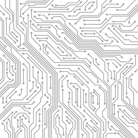 Circuit. Computer motherboard, microchip electronic technology. Hardware circuits board line vector texture. High tech pc processor abstract background with lines and dots illustration. Stock Illustratie