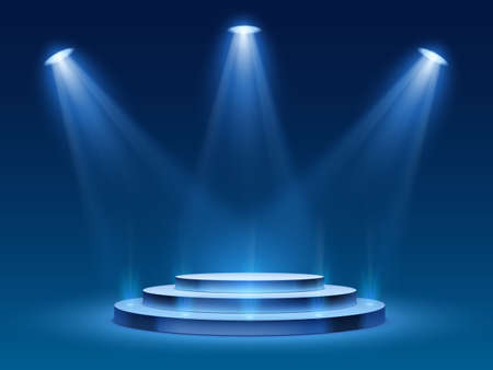 Scene podium with blue light. Stage platform with lighting for award ceremony, illuminated pedestal for presentation shows, vector image. Platform with steps and floodlight, searchlight with projector Çizim