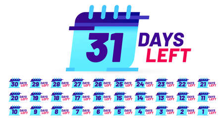 Days number left badges, countdown sticker design. Calendar page with date for product promotion isolated on white background set. Limited offer with timer, sale or big deal banner vector