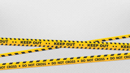Caution perimeter stripes. Warning and danger tapes. Black and yellow do not cross and keep out line. Crime places and construction signs isolated on transparent background vector illustration