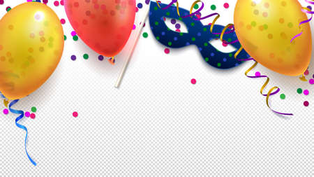 Carnival masquerade festive flat lay background. Celebration elements such as mask, colorful balloons, streamers and confetti for holiday isolated on transparent background vector illustration