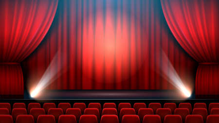 Theater show stage interior with red curtain, spotlight and theater chairs. Entertainment show theater, interior theatre hall. Vector illustration