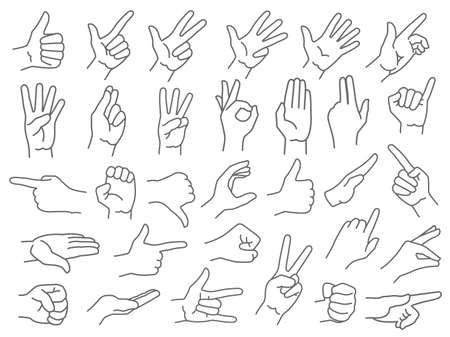 Line hands gestures. Like and dislike hand gesture icon, pointing finger and strong fist icons vector illustration set. Gesture hand, finger line and palm gesturing